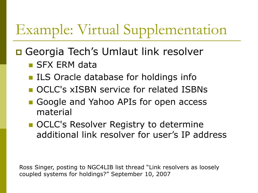 Example: Virtual Supplementation