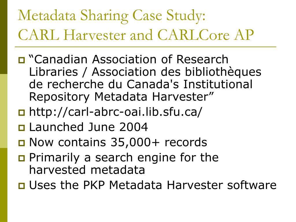 Metadata Sharing Case Study: