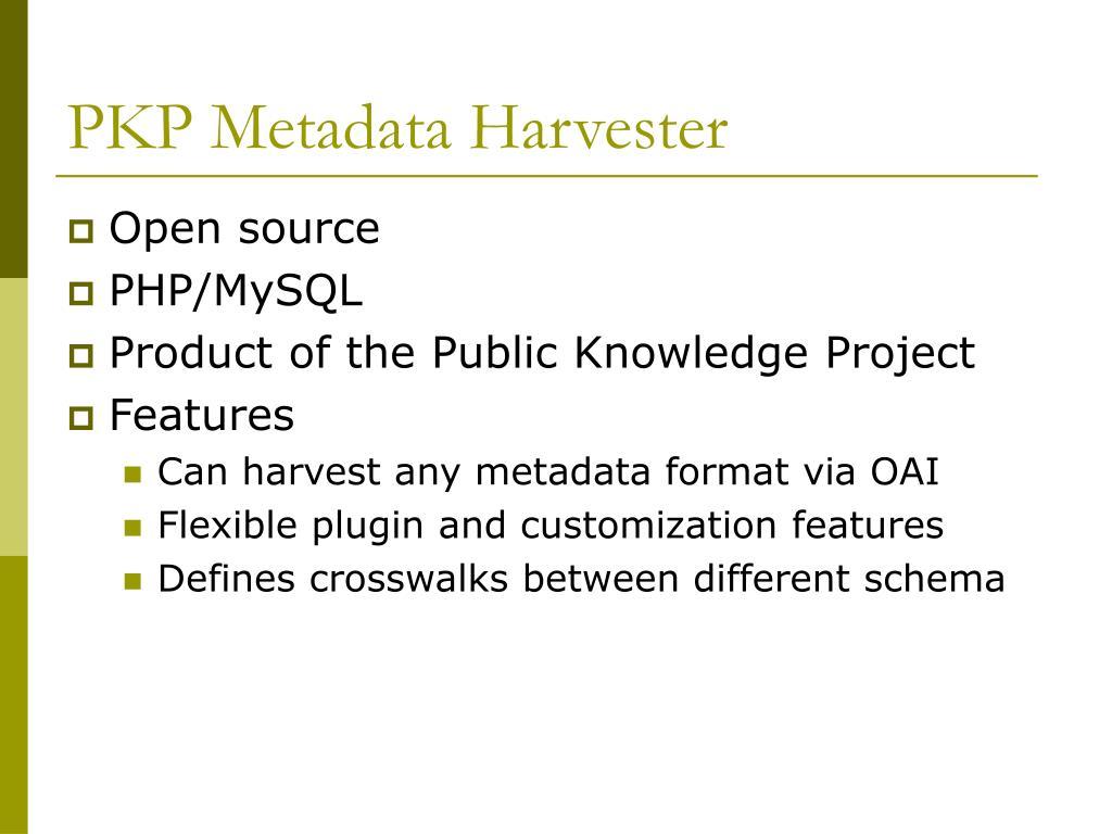 PKP Metadata Harvester