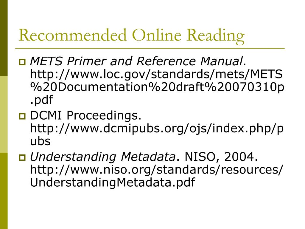 Recommended Online Reading