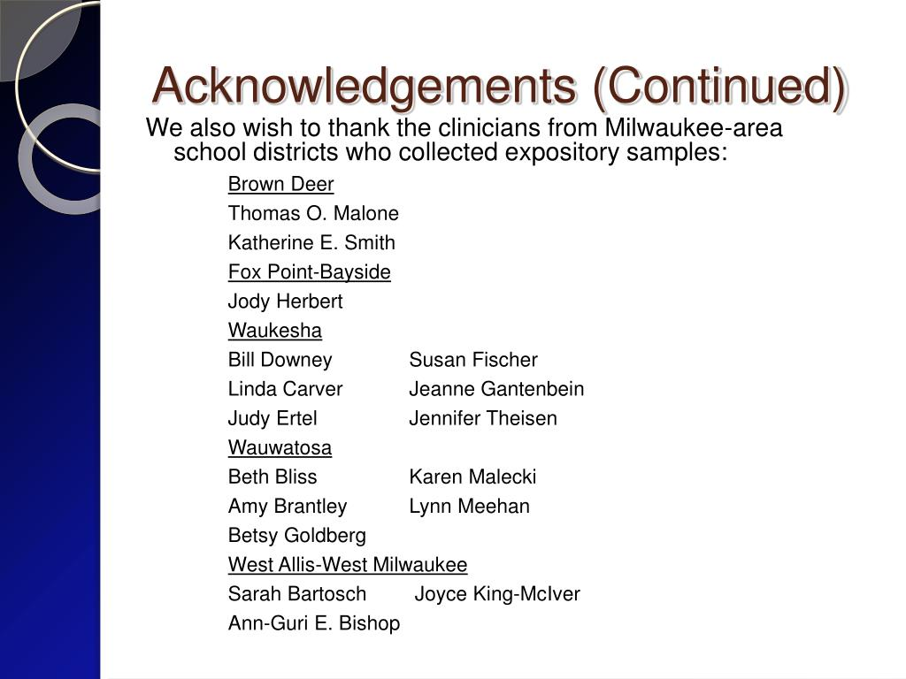 Acknowledgements (Continued)