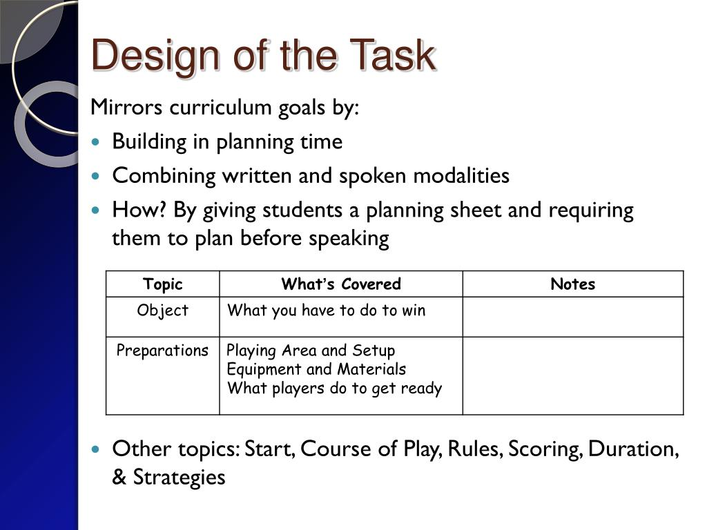 Design of the Task