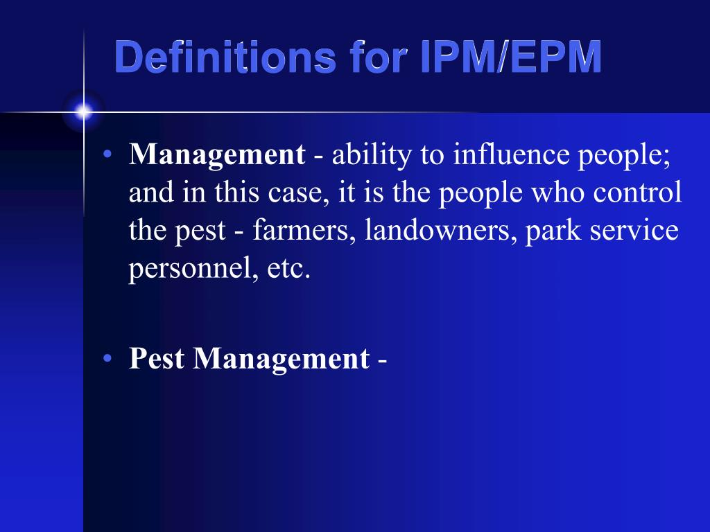 Definitions for IPM/EPM