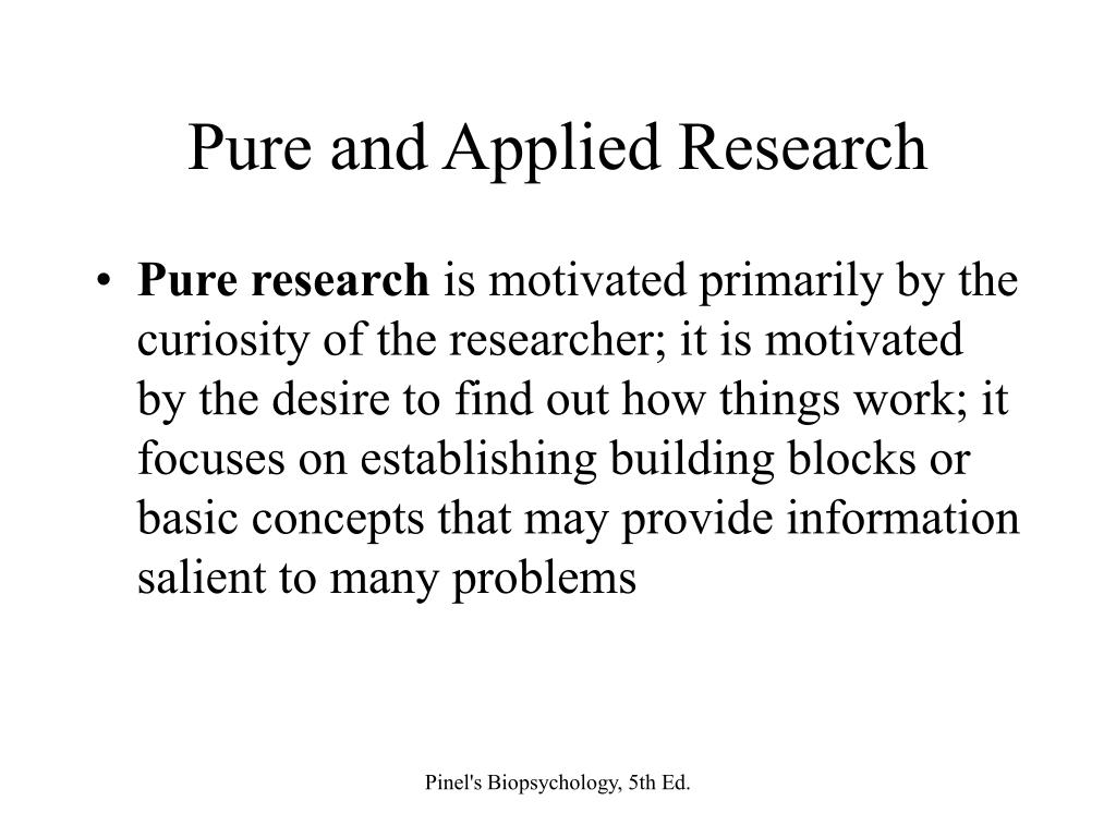 Pure and Applied Research