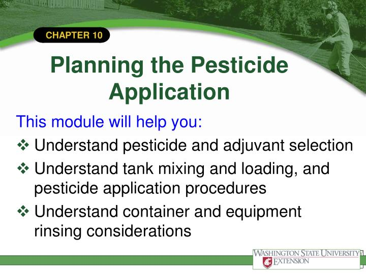 Planning the pesticide application2