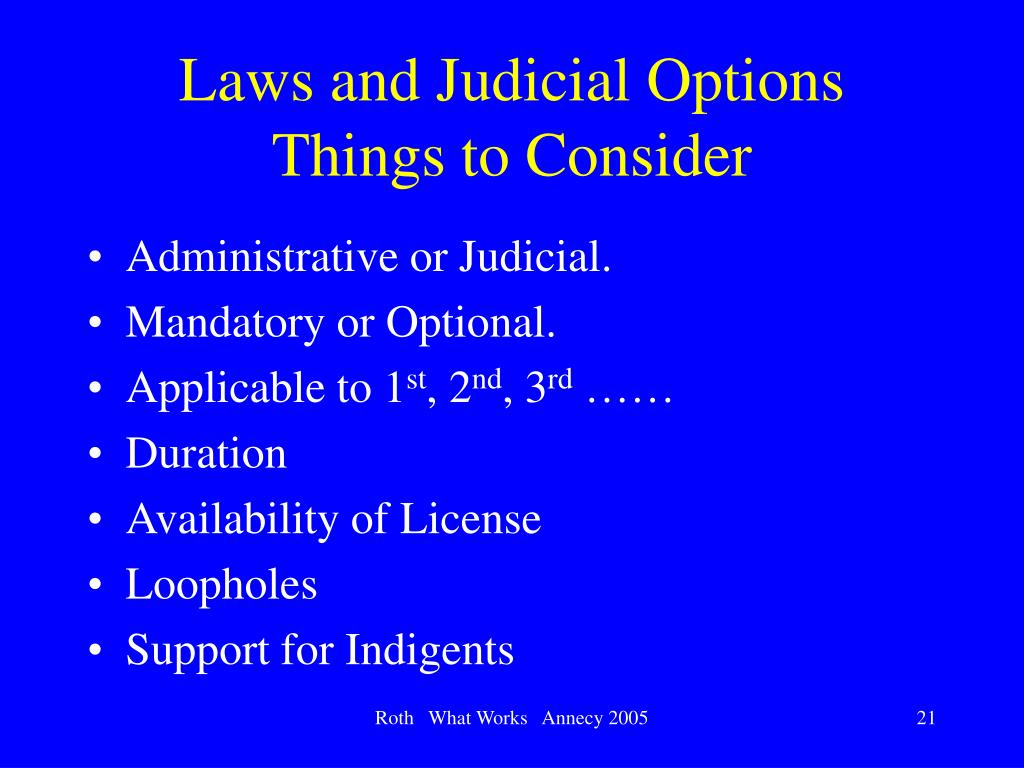 Laws and Judicial Options