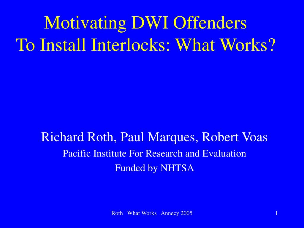 Motivating DWI Offenders