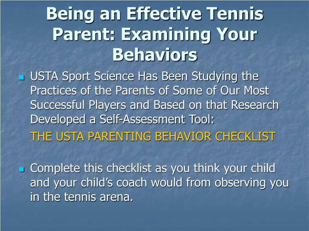 Being an Effective Tennis Parent: Examining Your Behaviors