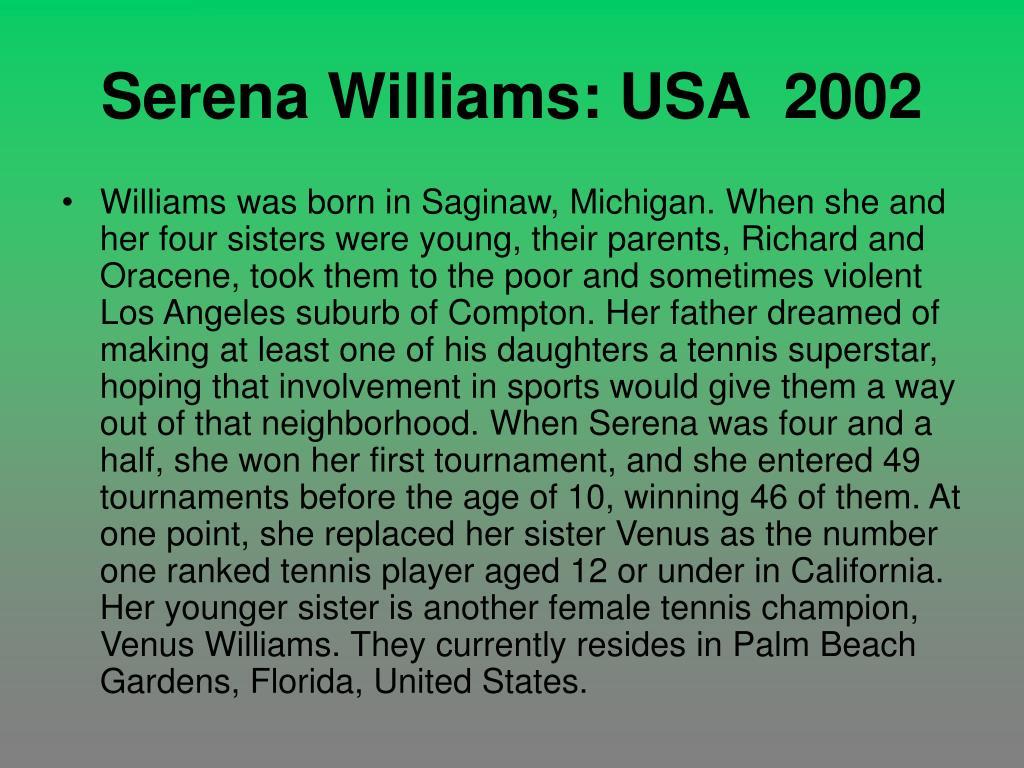 Serena Williams: USA  2002
