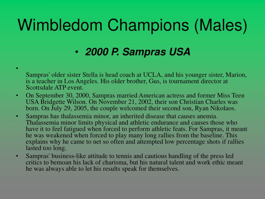 Wimbledom Champions (Males)