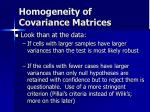 homogeneity of covariance matrices40