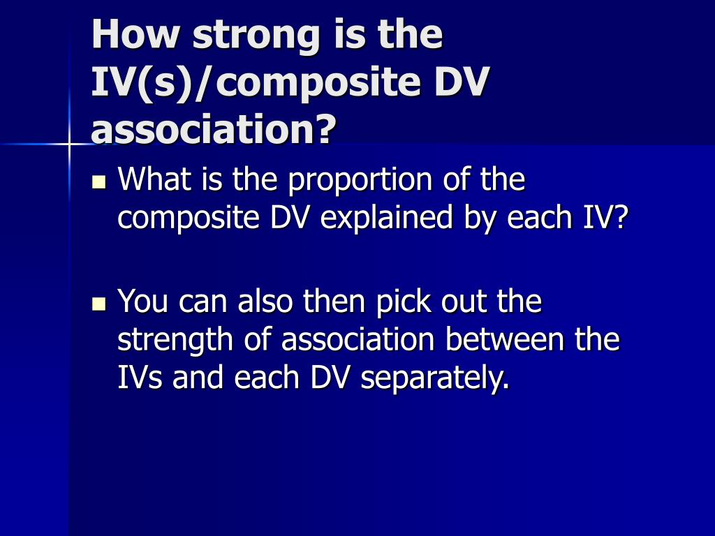 How strong is the IV(s)/composite DV association?