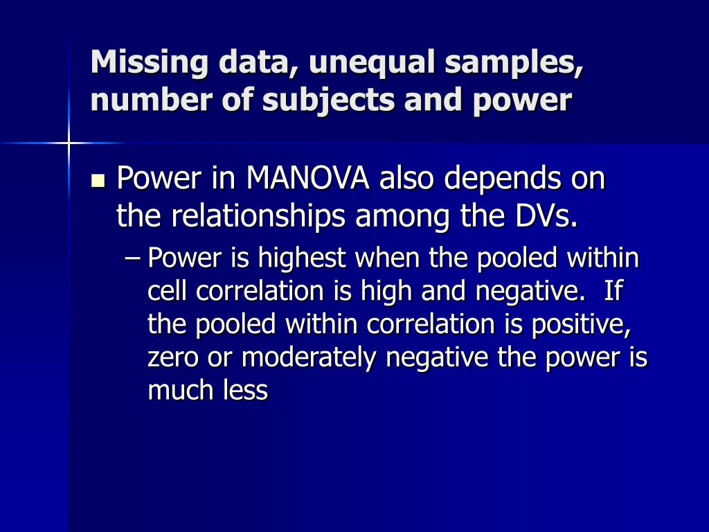 Missing data, unequal samples, number of subjects and power