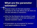what are the parameter estimates