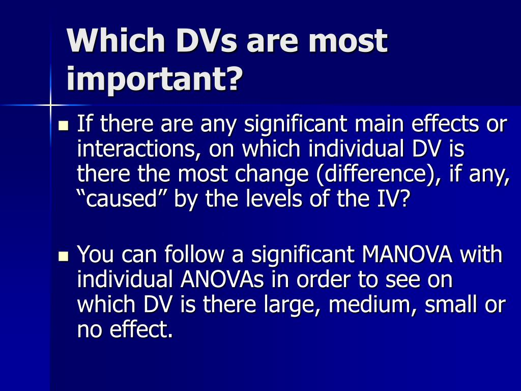 Which DVs are most important?