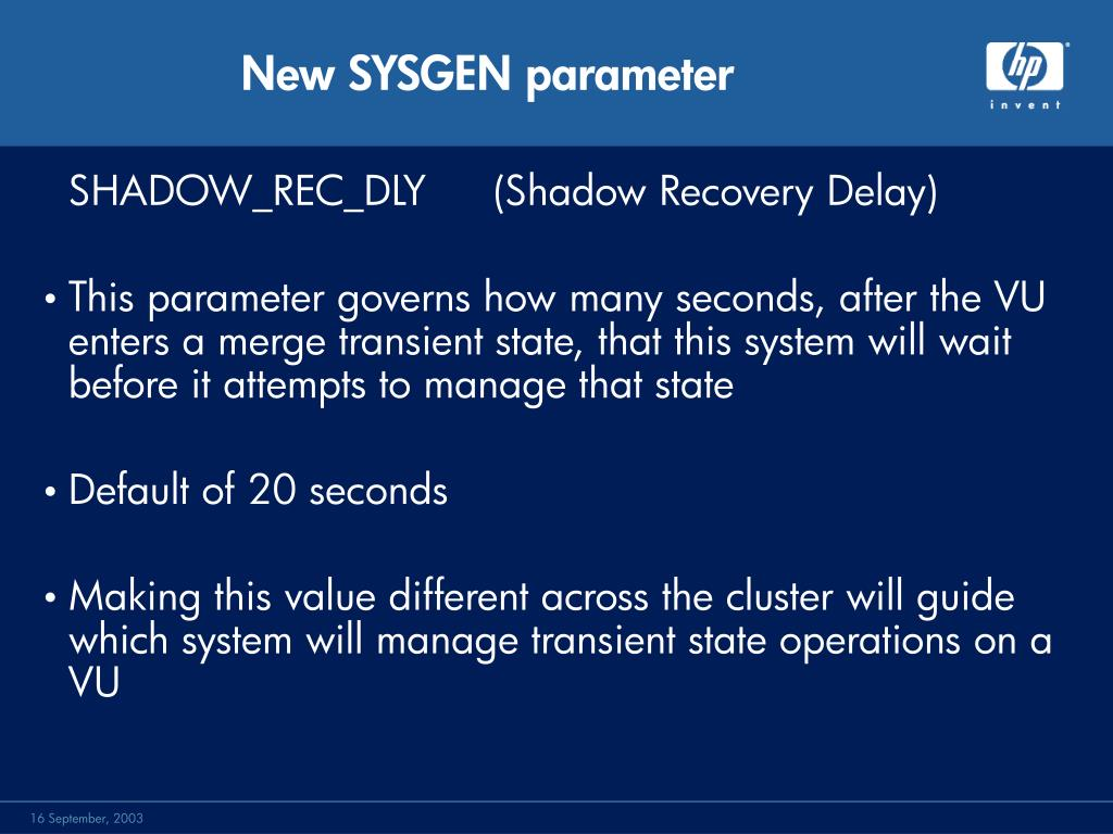 New SYSGEN parameter