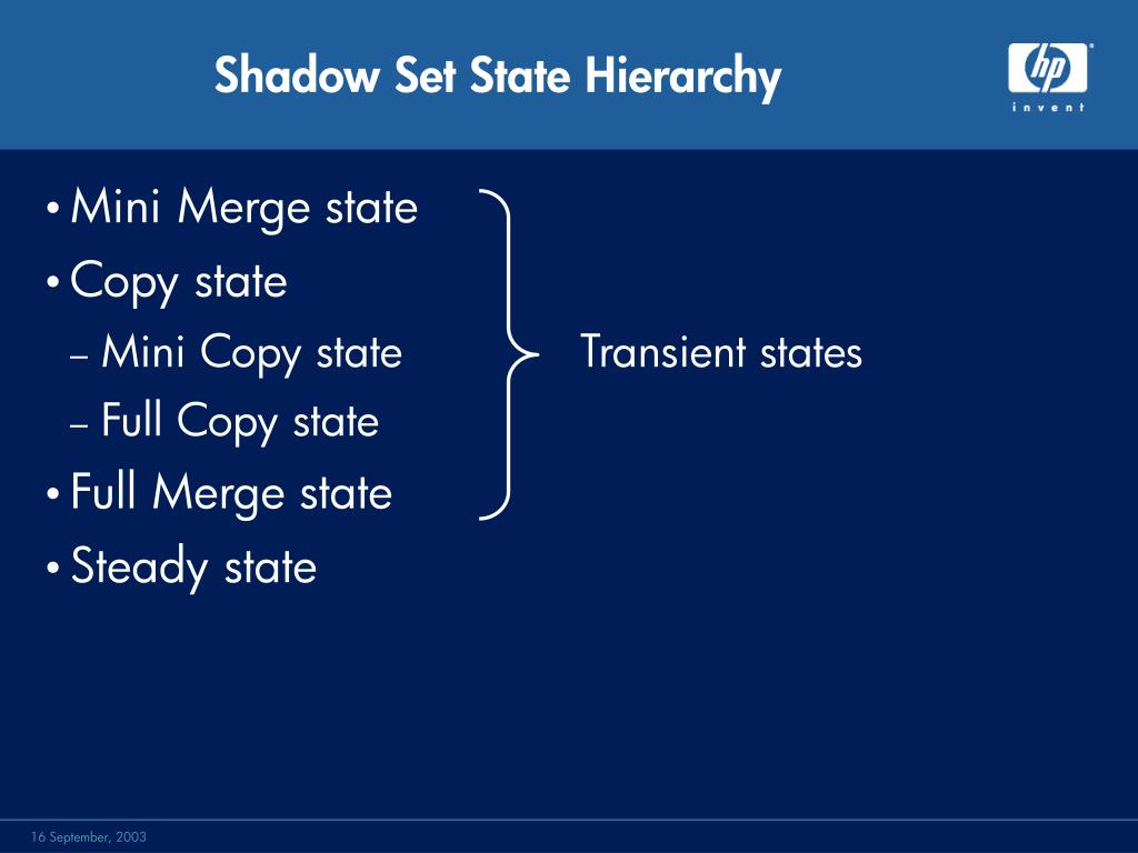 Shadow Set State Hierarchy