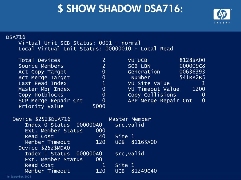 $ SHOW SHADOW DSA716: