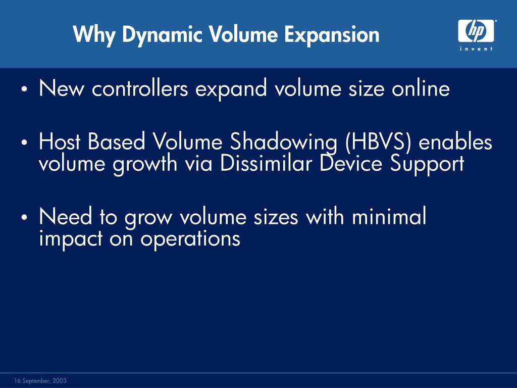 Why Dynamic Volume Expansion