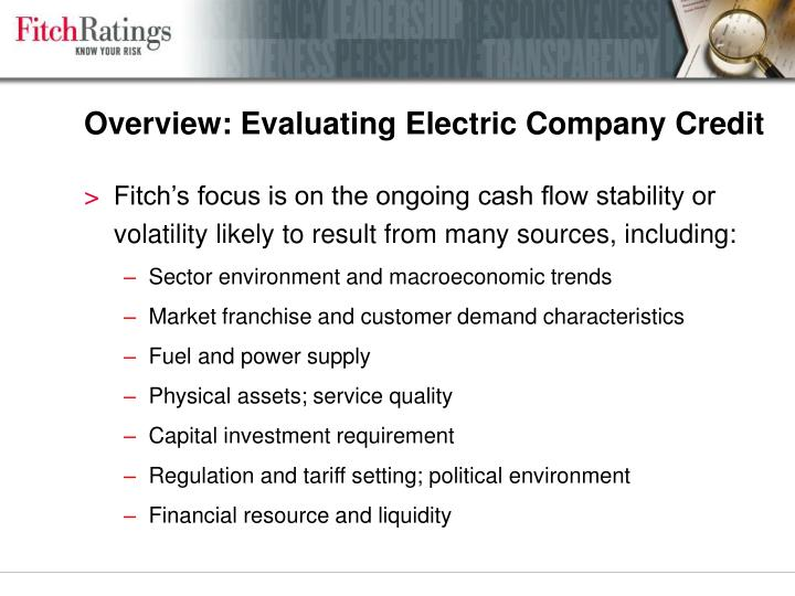 Overview evaluating electric company credit