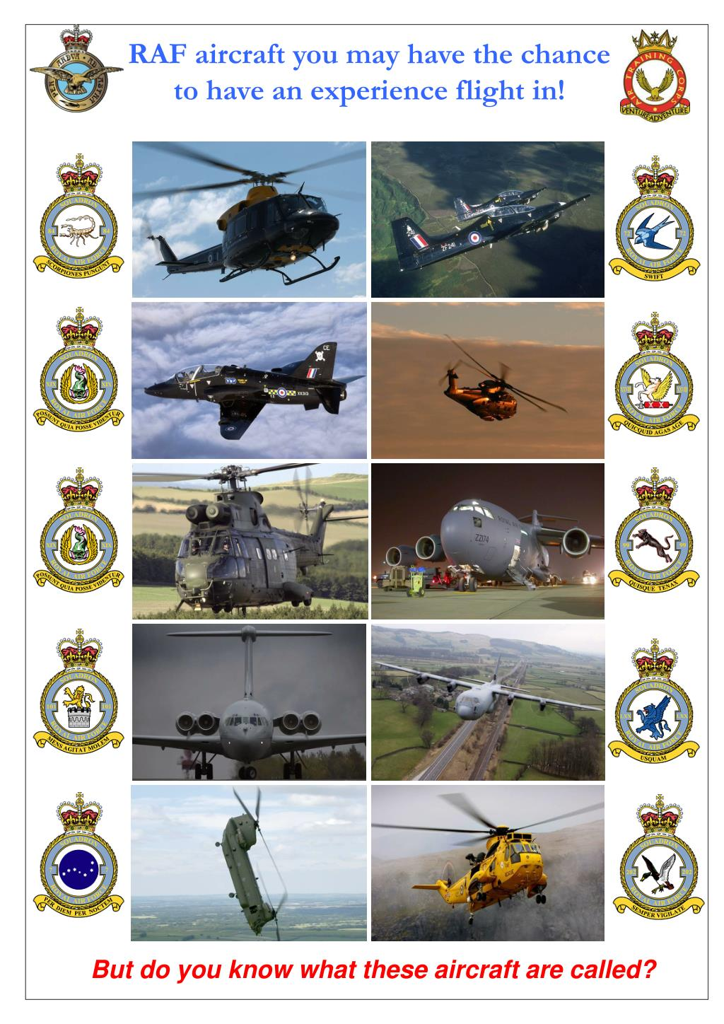 RAF aircraft you may have the chance to have an experience flight in!
