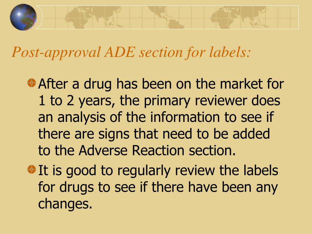 Post-approval ADE section for labels: