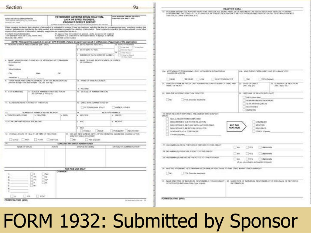 FORM 1932: Submitted by Sponsor