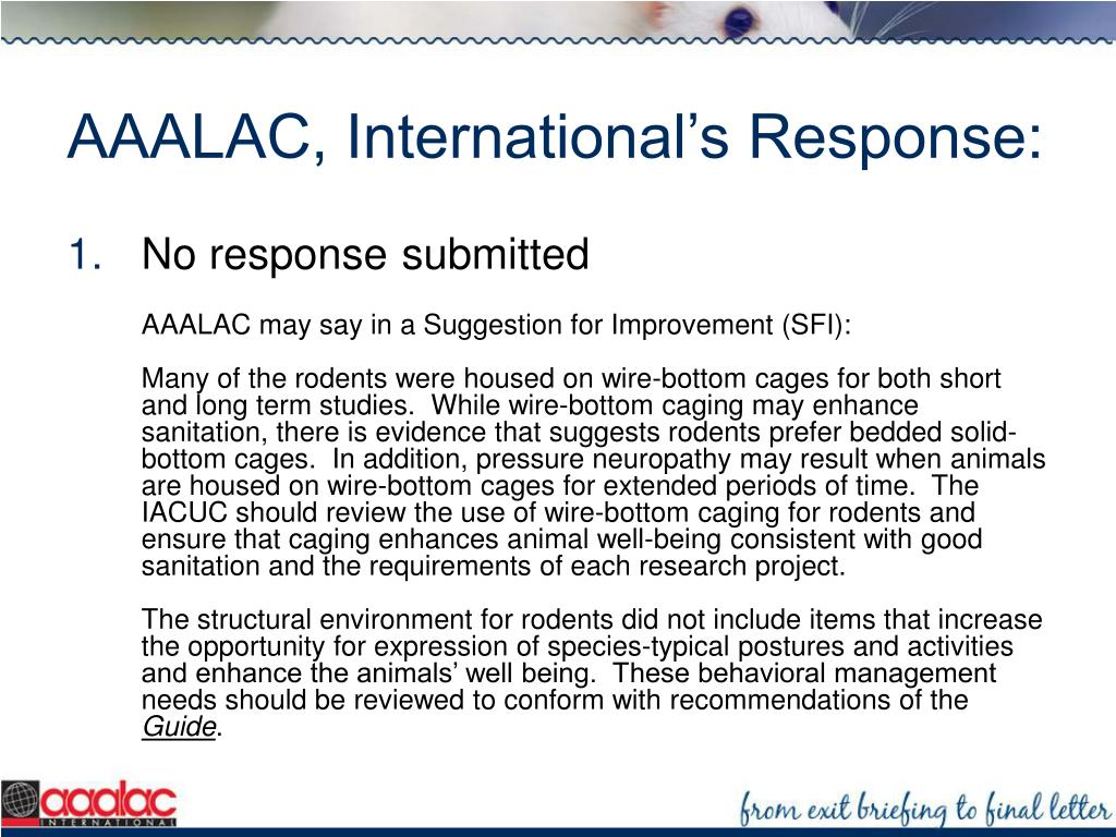AAALAC, International's Response: