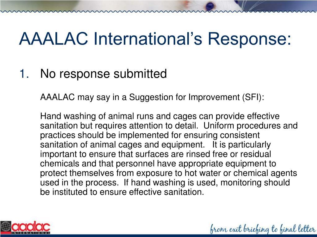 AAALAC International's Response: