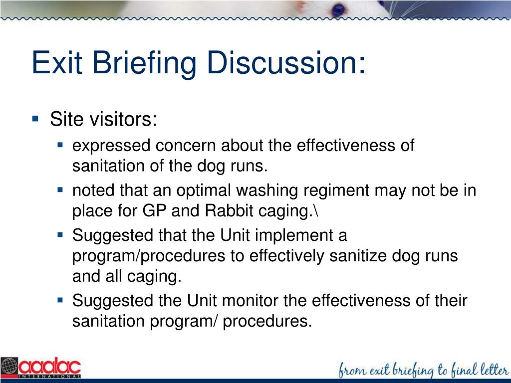 Exit Briefing Discussion: