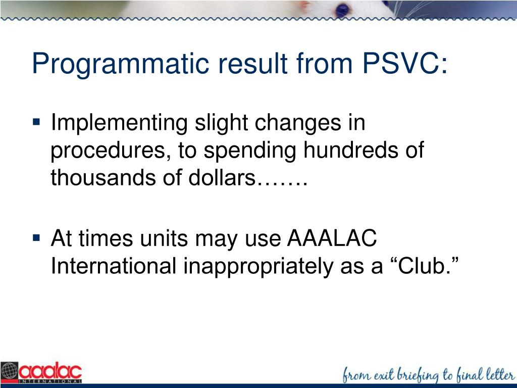 Programmatic result from PSVC: