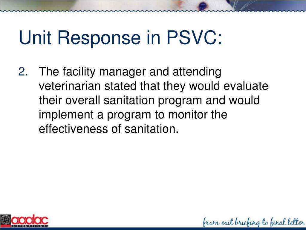 Unit Response in PSVC: