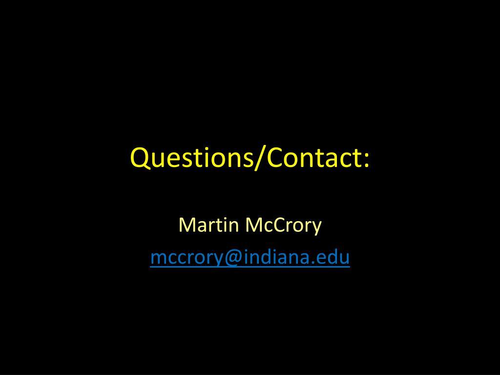 Questions/Contact: