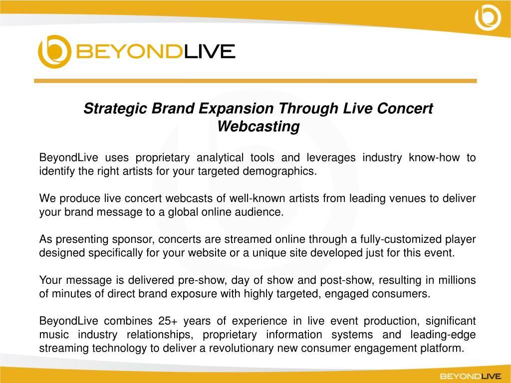 Strategic Brand Expansion Through Live Concert Webcasting