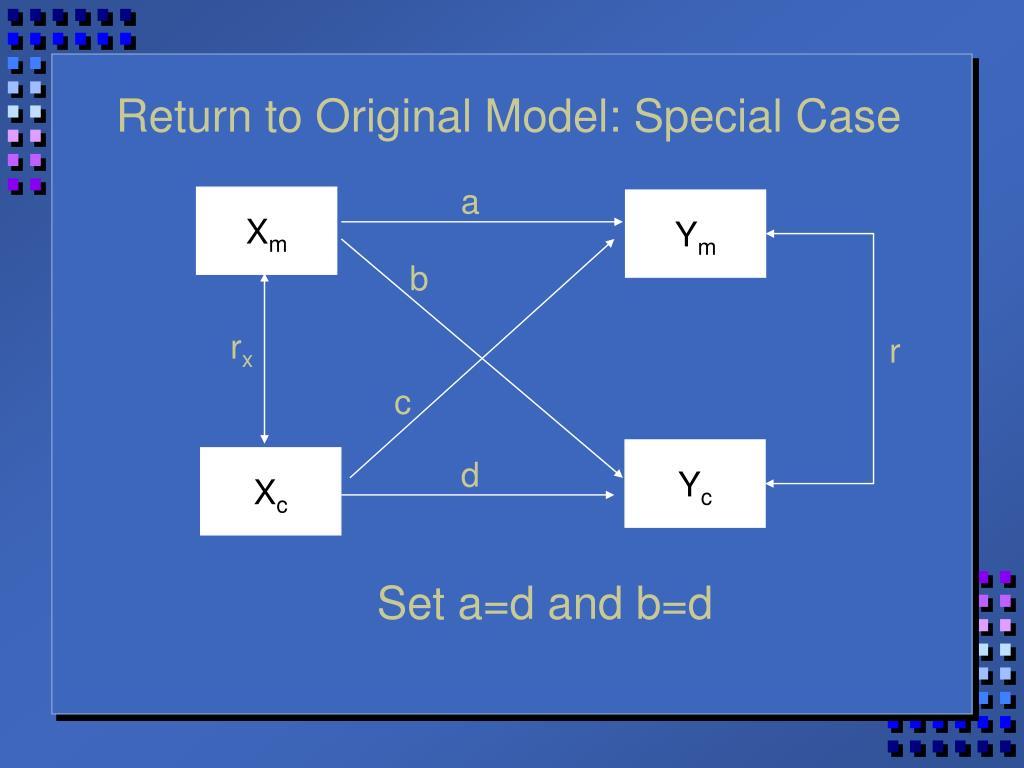 Return to Original Model: Special Case