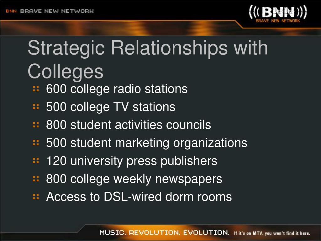 Strategic Relationships with Colleges