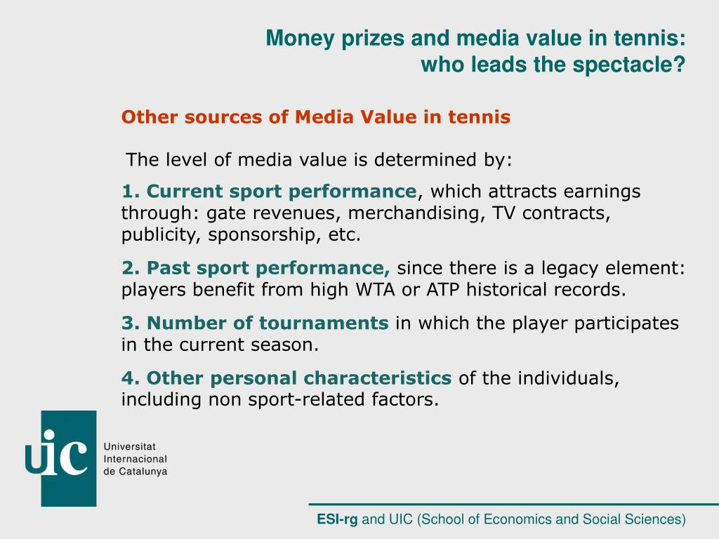 Other sources of Media Value in tennis
