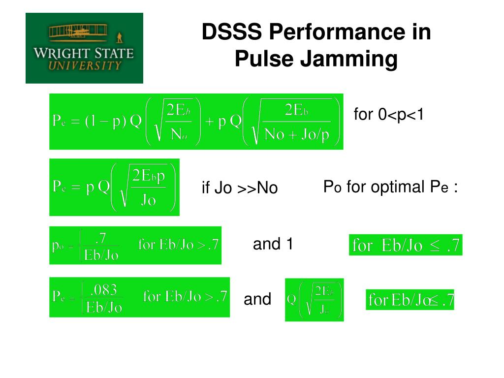 DSSS Performance in Pulse Jamming