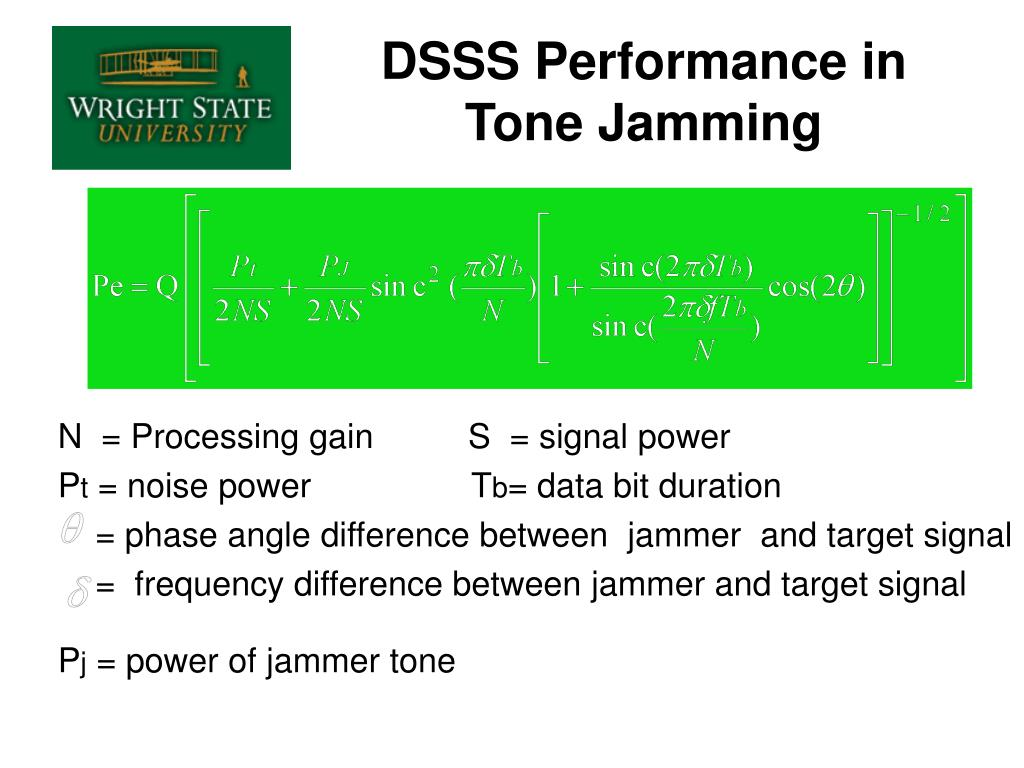DSSS Performance in Tone Jamming