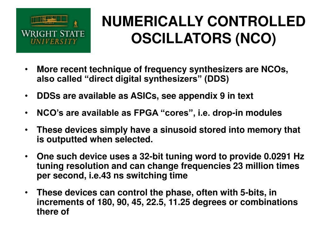 NUMERICALLY CONTROLLED OSCILLATORS (NCO)