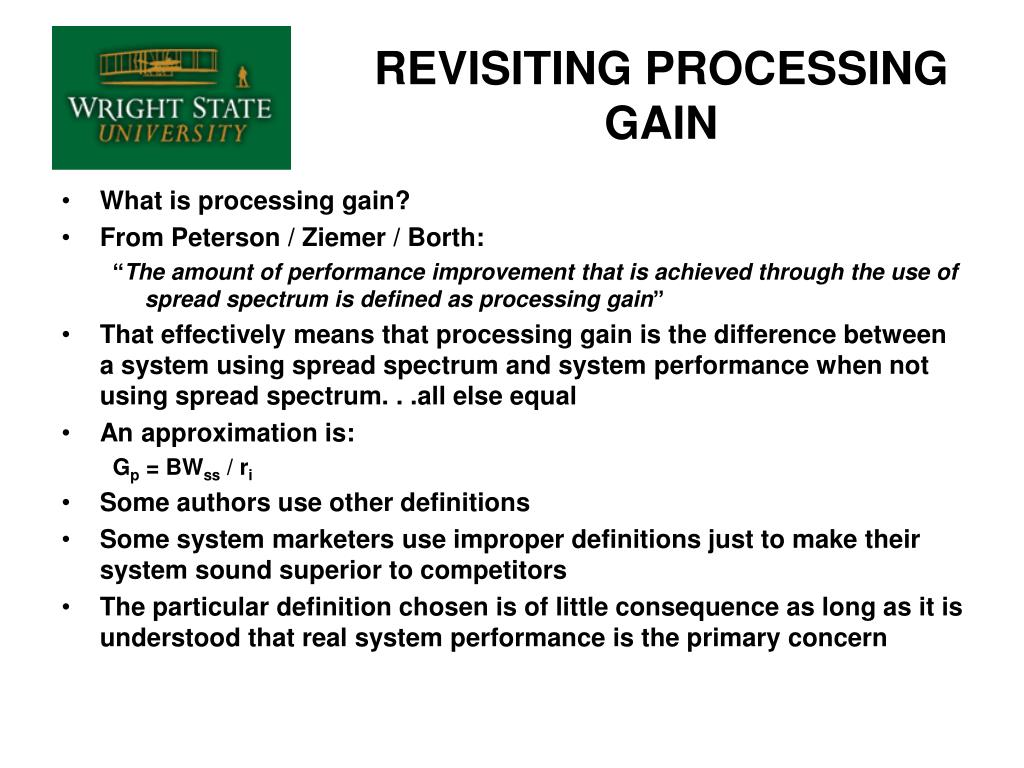 REVISITING PROCESSING GAIN