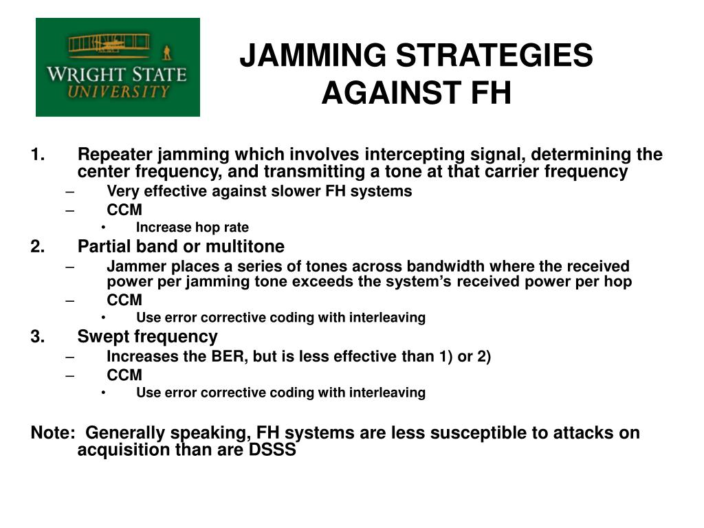 JAMMING STRATEGIES AGAINST FH