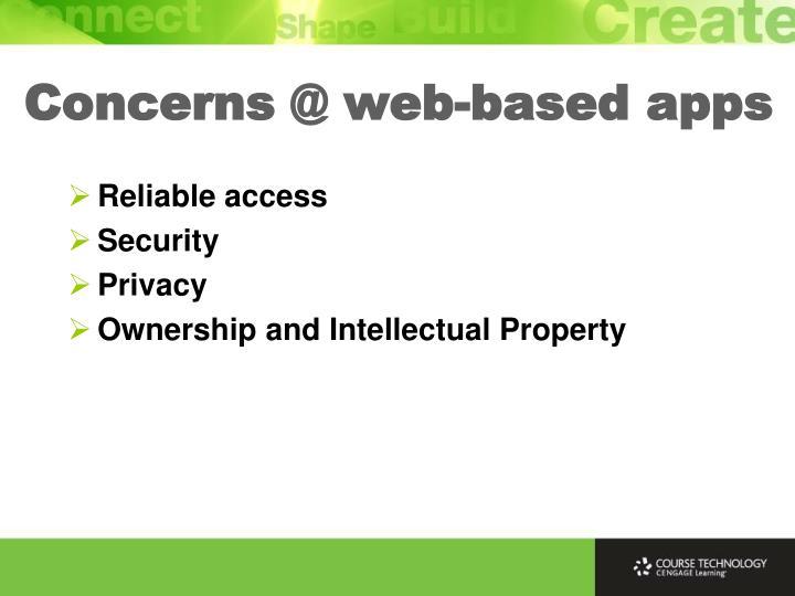 Concerns @ web-based apps