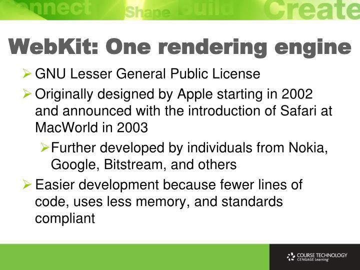 WebKit: One rendering engine