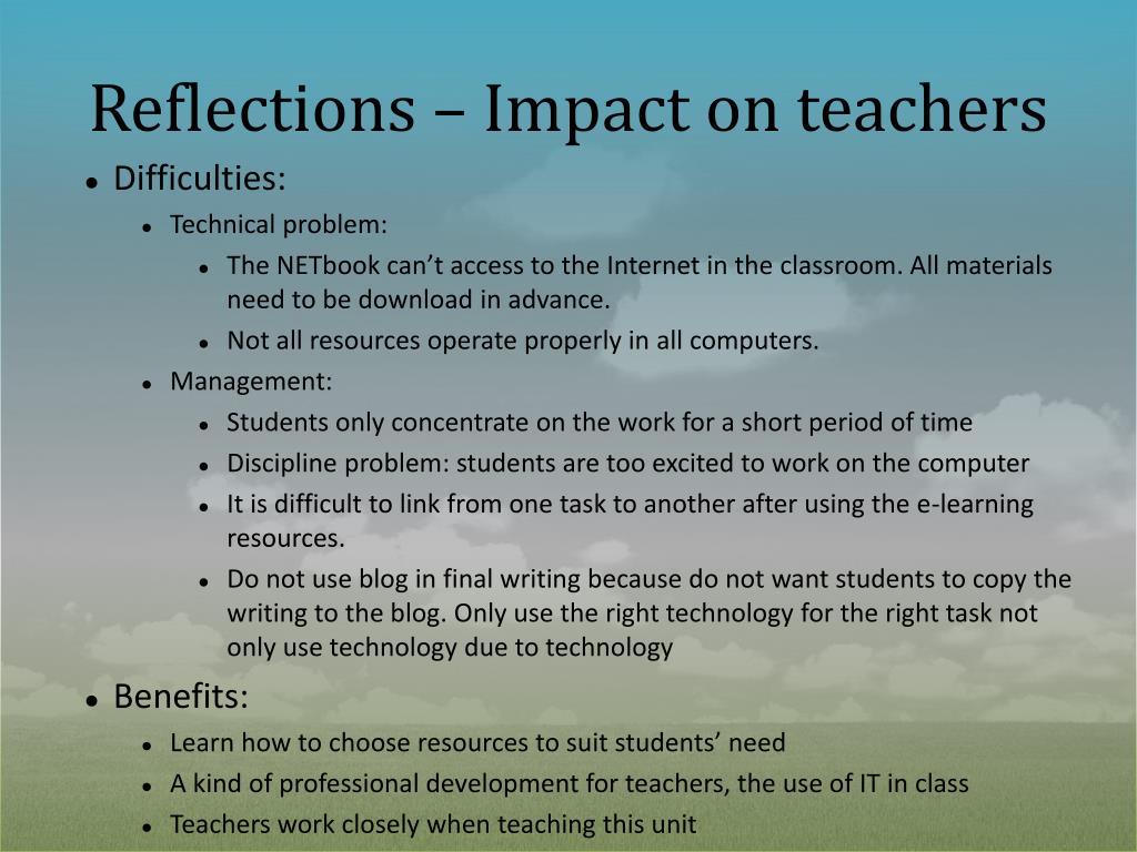 Reflections – Impact on teachers