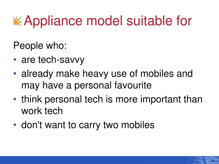 Appliance model suitable for