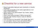 checklist for a new service