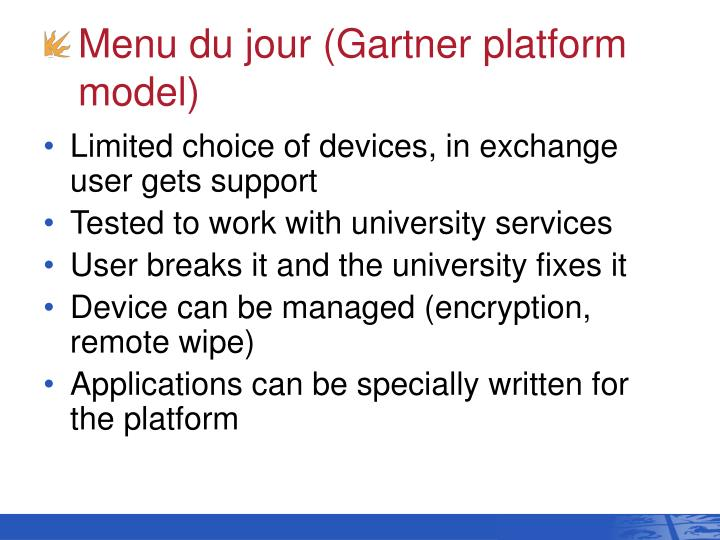 Menu du jour (Gartner platform model)