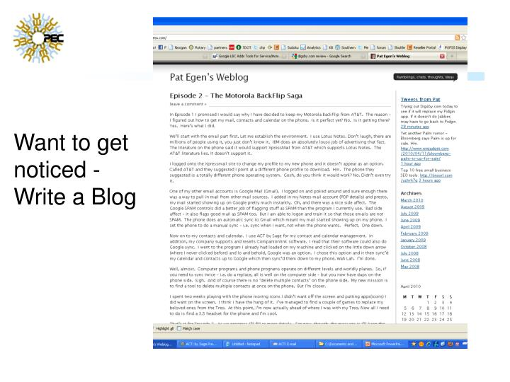 Want to get noticed - Write a Blog