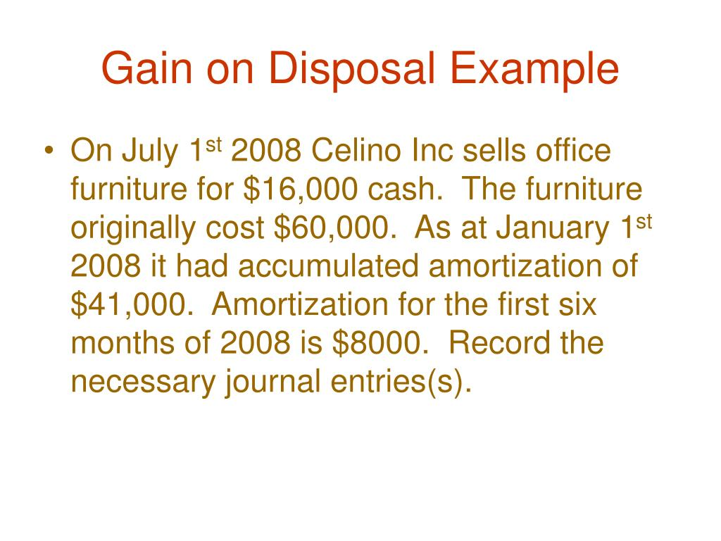 Gain on Disposal Example